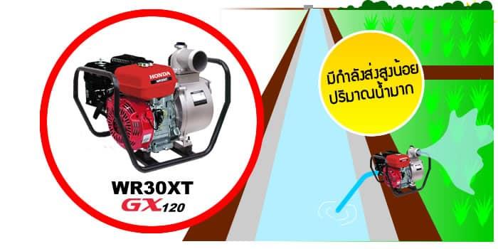 WR30XT เหมาะสำหรับกับการสูบน้ำที่ต้องการปริมาณน้ำมากเท่ากับ WB30XT แต่สูบน้ำได้ไม่ลึกเท่า WB30XT ใช้สูบน้ำกับงานชลประทาน ร่องน้ำ