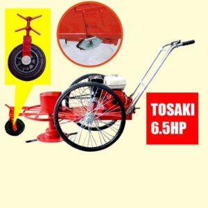 รถตัดหญ้า BES 3 ล้อจักรยาน (ยางตัน) พร้อมเครื่องยนต์ TOSAKI 6.5 HP รถตัดหญ้าทำสวน รถเข็นตัดหญ้า ตัดหญ้า ในไร่ ทุ่งนา ทุ่งหญ้า ข้างทาง